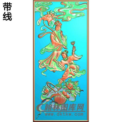 八仙荷仙姑,蓝采合精雕图(BX-168)