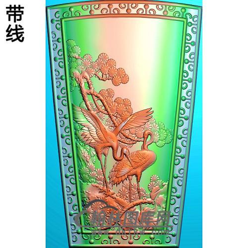棺盖-八仙法器盖板改鹤精雕图(BX-176)