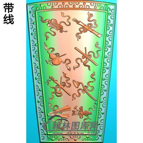 棺盖-八仙法器盖板精雕图(BX-175)