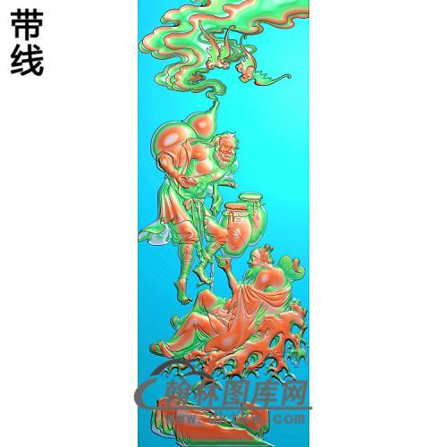 靠背八仙铁拐李,汉忠离精雕图(BX-181)