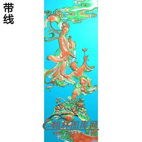 靠背板八仙荷仙姑精雕图(BX-183)