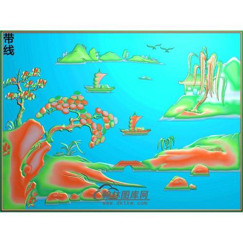 SSJZ-005-青岗沙发山水床背面精雕图(SSFJ-094)