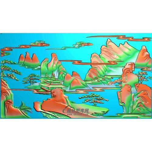 SSJZ-018山水建筑精雕图(SSFJ-103)
