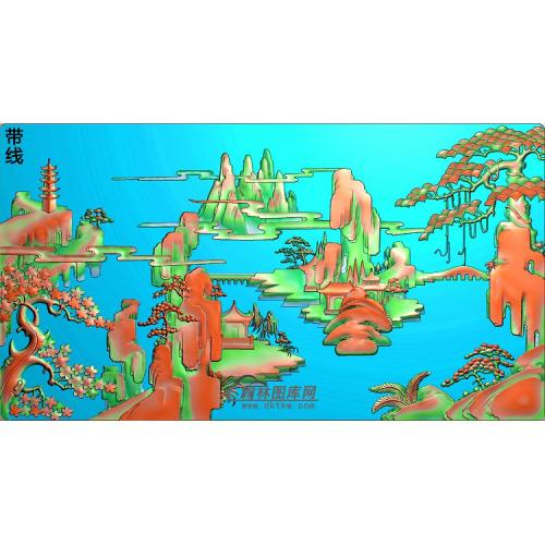 SSJZ-020山水建筑精雕图(SSFJ-105)