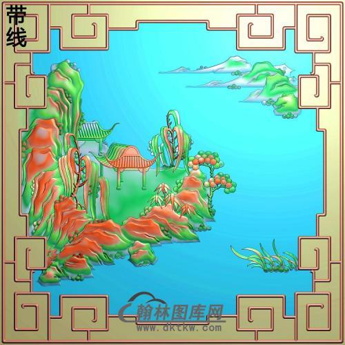 SSJZ-7087景韵山水上门左精雕图(SSJZ-162)