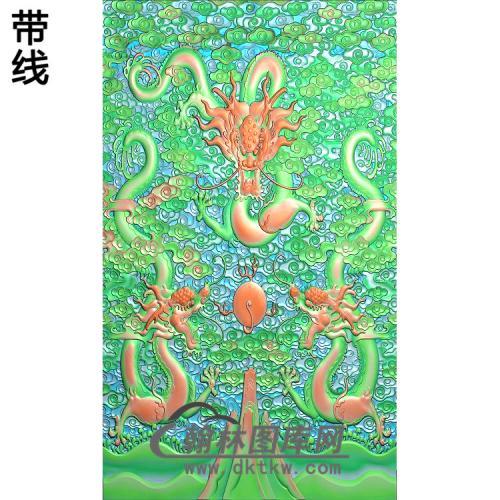 L-1505云龙宝座中背方行精雕图(SL-012)