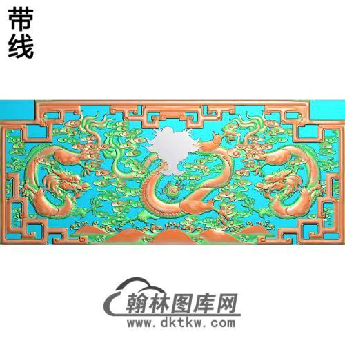 九龙罗汉床背板精雕图(DL-020)