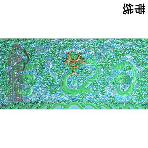 九龙罗汉中床背板精雕图(SL-021)