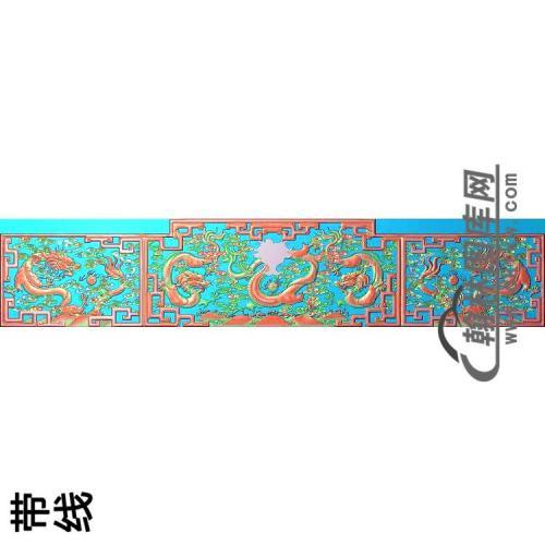 九龙罗汉床背板119000改12精雕图(WL-014)