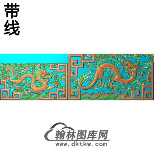 九龙罗汉床扶手(ling)带线精雕图(SL-109)