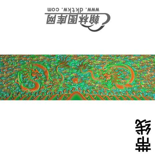 九龙罗汉扶手板1带线精雕图(SL-110)