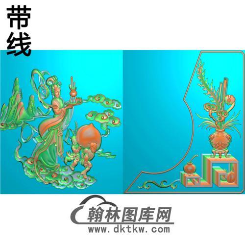 HP-2203花瓶灵芝有线精雕图(BGP-020)