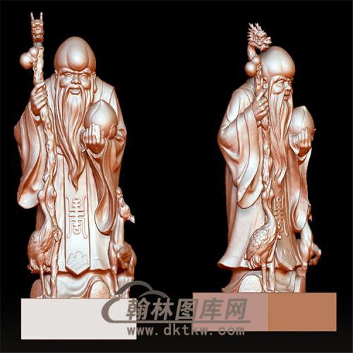 龙头拐杖寿星立体圆雕图(YSX-9)