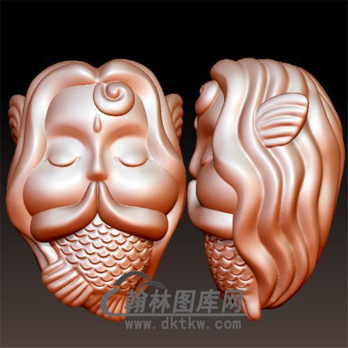 小龙女美人鱼圆雕立体图(YKT-4)