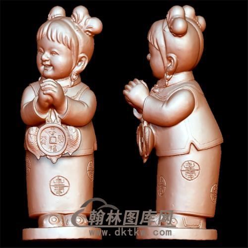 恭喜发财女童立体圆雕图(YTZ-4)