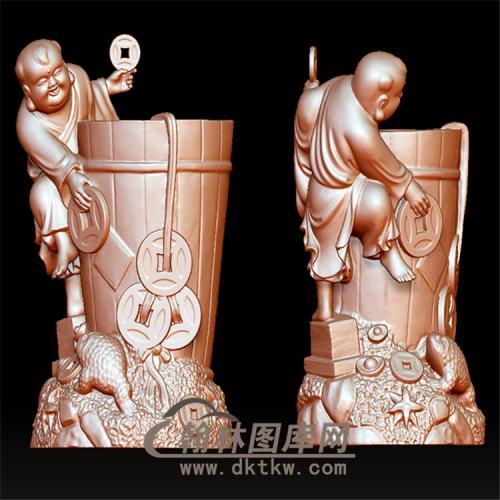 招财童子立体圆雕图(YTZ-19)
