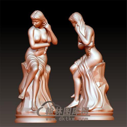 少女雕像立体圆雕图(YSN-9)
