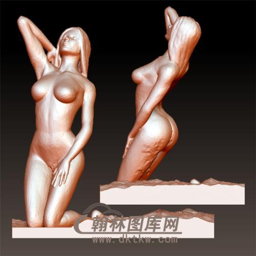 海滩上的美女立体圆雕图(YSN-16)
