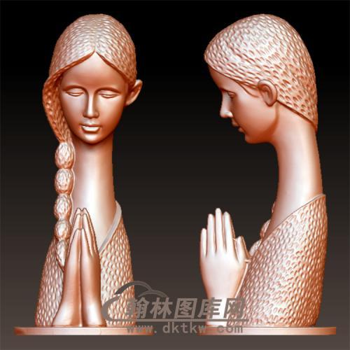 漂亮现代少女立体圆雕图(YSN-22)