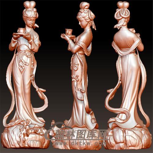 仙女雕塑端茶立体圆雕图 01(YSN-25)