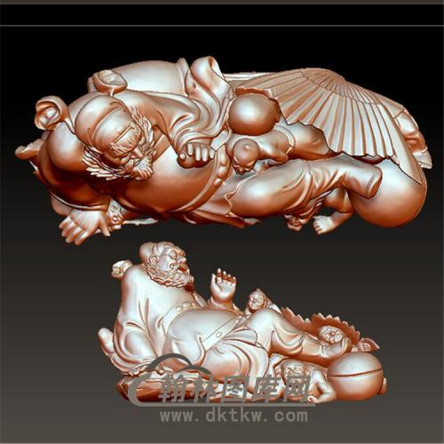 钟馗小鬼立体圆雕图(YZK-004)