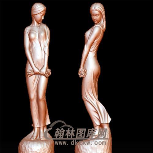 美女雕塑含羞立体圆雕图(YXF-093)