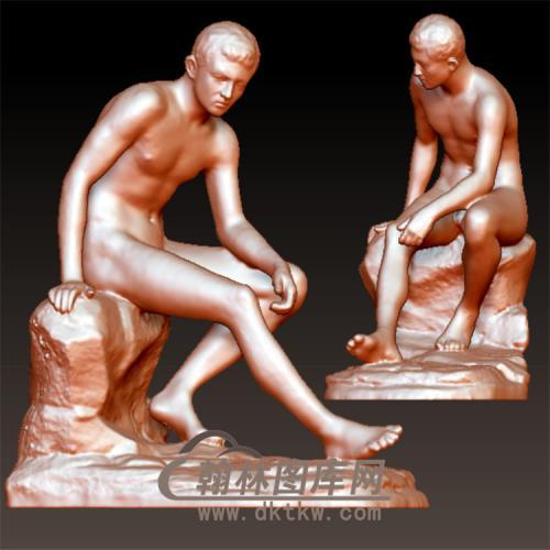 西方雕塑人物坐像立体圆雕图(YXF-130)