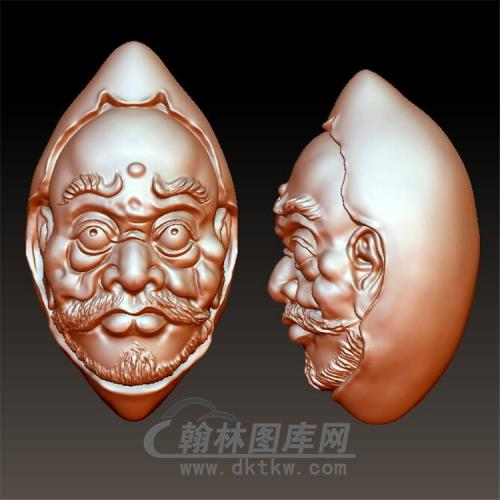 lh-008罗汉核雕立体圆雕图