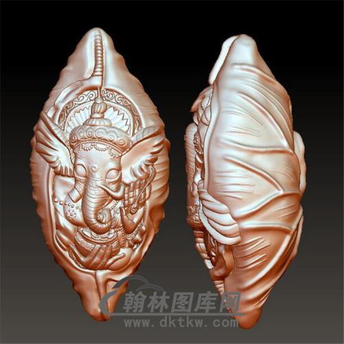 zh-020核雕象神手串立体圆雕图