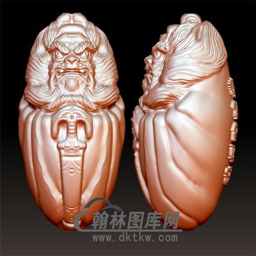 天师钟馗核雕立体圆雕图(ZK-001)