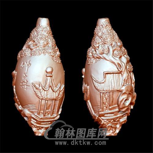 核雕亭台立体圆雕图(ZH-001)