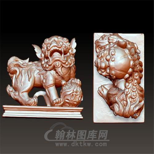 狮子绣球立体圆雕图(YSZ-013)
