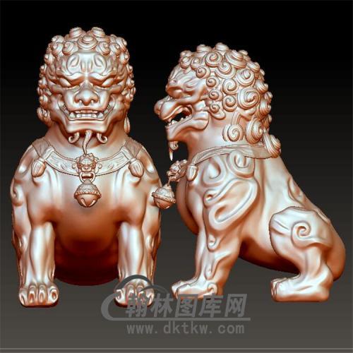 石狮子立体圆雕图(YSZ-014)