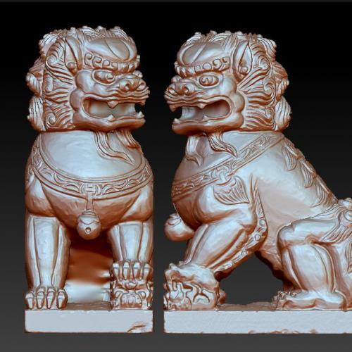 大狮子狮绣球狮子立体圆雕图(YSZ-030)