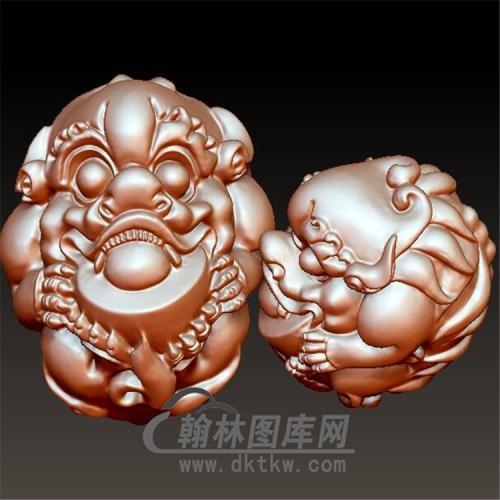 元宝貔貅手把件立体圆雕图(YPX-039)