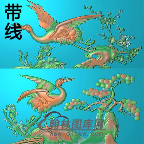 寿盒鹤有线精雕图(GHH-061)