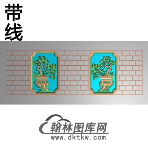 寿盒梅兰菊竹侧面精雕图(GHH-062)