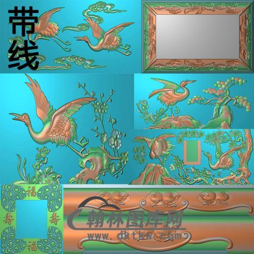 寿盒仙鹤苑精雕图(GHH-063)