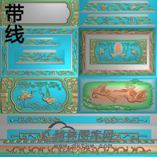松鹤寿盒《仙鹤宫》精雕图(GHH-066)