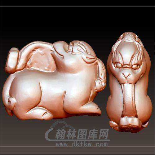 如意貔貅立体圆雕图(YPX-045)