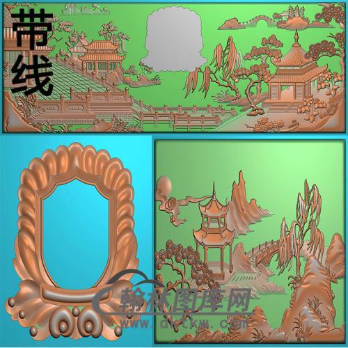 园林寿盒精雕图(GHH-088)