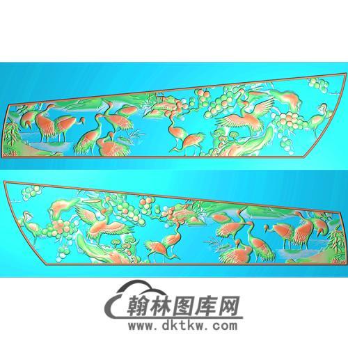 百鹤棺材侧板精雕图(GC-012)