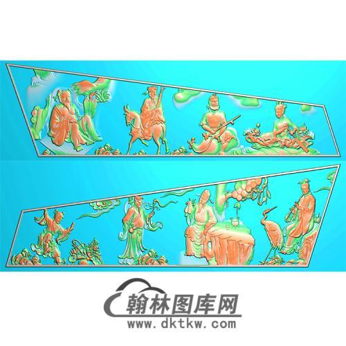 八仙棺材侧板精雕图(GC-016)