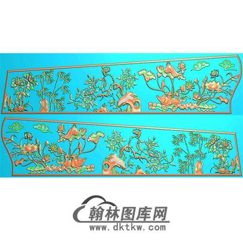 四季花草棺材侧板精雕图(GC-028)