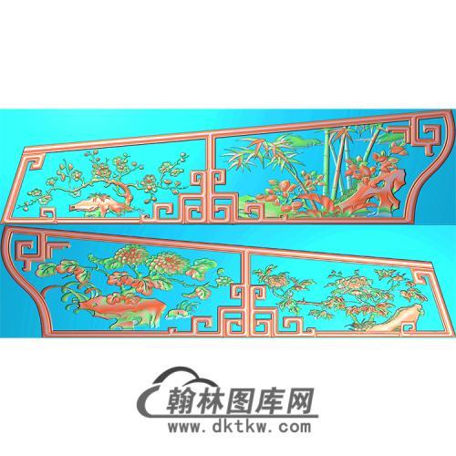 四季花棺材侧板精雕图(GC-029)