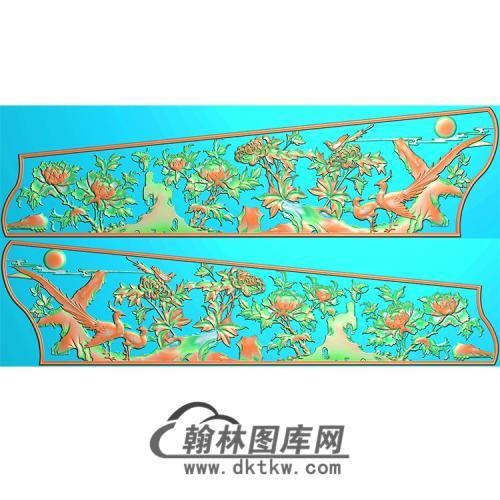 牡丹菊花花鸟棺材侧板精雕图(GC-032)