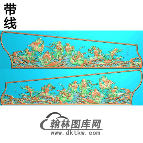八仙过海人物侧板精雕图(GC-040)