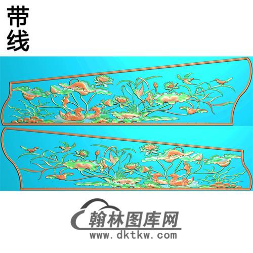 荷花鸳鸯棺材侧板 精雕图(GC-062)