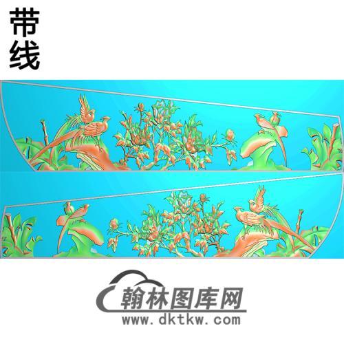 花鸟牡丹棺材侧板精雕图(GC-064)