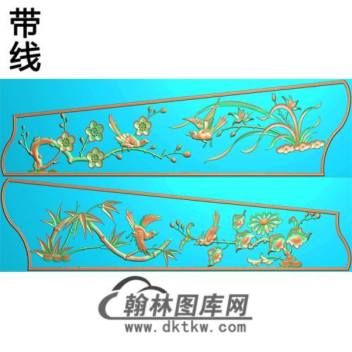 梅兰竹菊 侧板精雕图(GC-071)